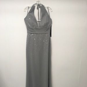 Demetrios Platinum Formal Gown Beading Halter 10